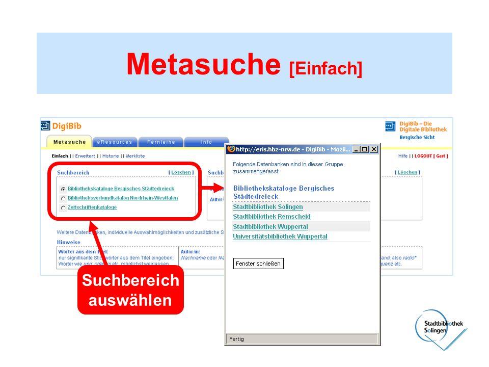 Metasuche [Einfach] Suchbereich auswählen Bibliotheksverbund NRW (HBZ)